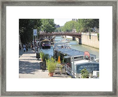 Framed Print featuring the photograph Paris - Seine Scene by HEVi FineArt