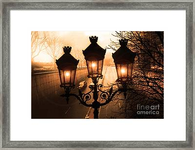Paris Sepia Street Lanterns Lamps - Paris Sepia Autumn Fall Sparkling Sunset Night Lanterns  Framed Print by Kathy Fornal