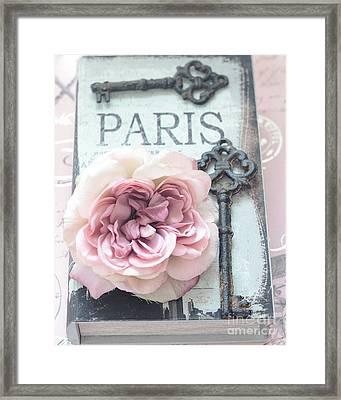 Paris Vintage Books Roses Key Art - Paris French Key Art - French Key Roses Decor Framed Print