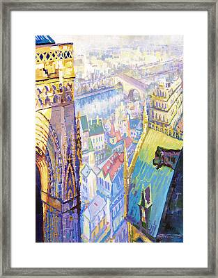 Paris Shadow Notre Dame De Paris Framed Print by Yuriy  Shevchuk