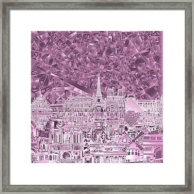 Paris Skyline Abstract Purple Framed Print