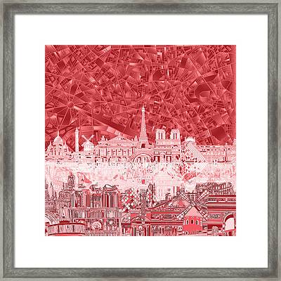 Paris Skyline Abstract Red  Framed Print