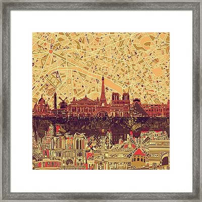 Paris Skyline Abstract Sepia Framed Print