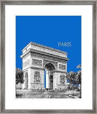Paris Skyline Arc De Triomphe - Blue Framed Print by DB Artist