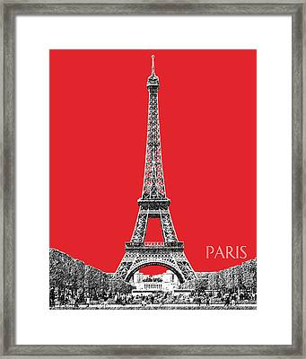 Paris Skyline Eiffel Tower - Red Framed Print by DB Artist