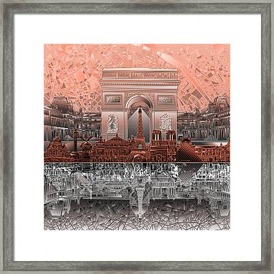 Paris Skyline Landmarks 2 Framed Print