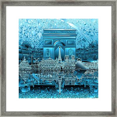 Paris Skyline Landmarks 3 Framed Print
