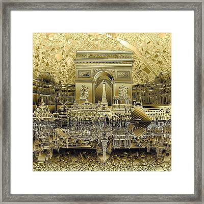 Paris Skyline Landmarks 4 Framed Print