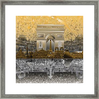 Paris Skyline Landmarks 5 Framed Print