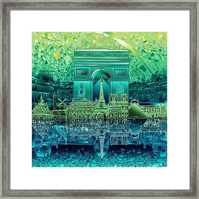 Paris Skyline Landmarks 6 Framed Print