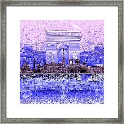 Paris Skyline Landmarks 7 Framed Print