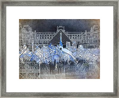 Paris Skyline Vintage Framed Print