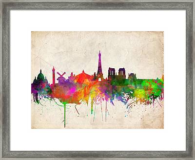 Paris Skyline Watercolor  Framed Print