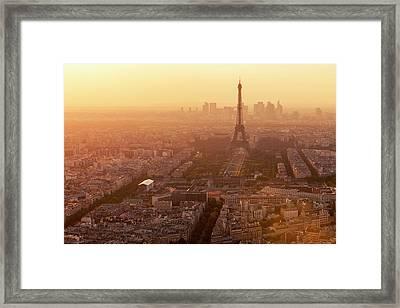 Paris Skyline With Eiffel Tower In Framed Print by B&m Noskowski