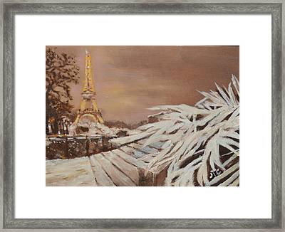 Framed Print featuring the painting Paris Sous La Neige by Julie Todd-Cundiff