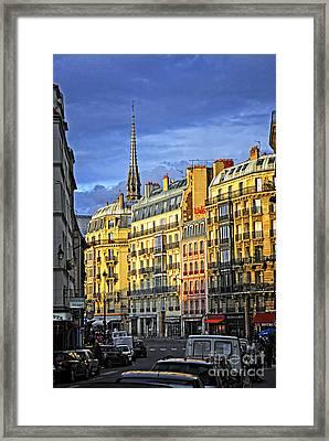 Paris Street At Sunset Framed Print by Elena Elisseeva
