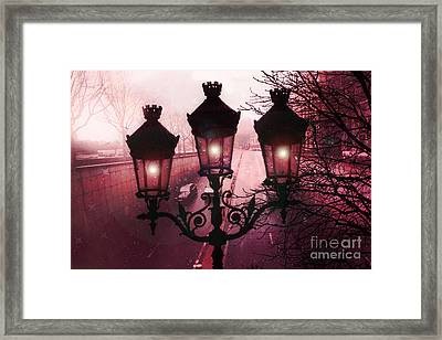 Paris Street Lamps Architecture - Paris Romantic Dark Rouge Rose Street Lamps Lights And Lanterns  Framed Print by Kathy Fornal