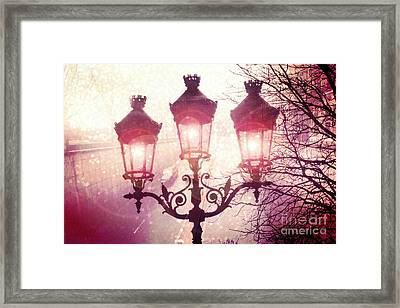 Paris Street Lanterns Lamps Street Architecture - Paris Ornate Lanterns Lamps Framed Print by Kathy Fornal