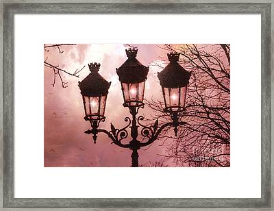 Paris Street Lanterns - Paris Romantic Dreamy Surreal Pink Paris Street Lamps  Framed Print by Kathy Fornal