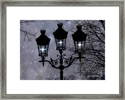 Paris Street Lights Lanterns - Paris Starry Night Dreamy Surreal Starlit Night Street Lamps Of Paris Framed Print by Kathy Fornal