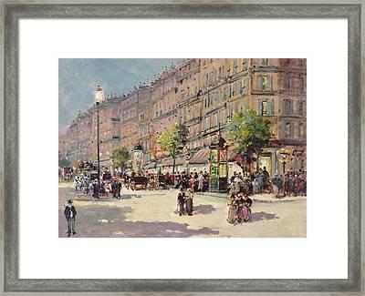 Paris Street Scene Framed Print by Gustave Mascart