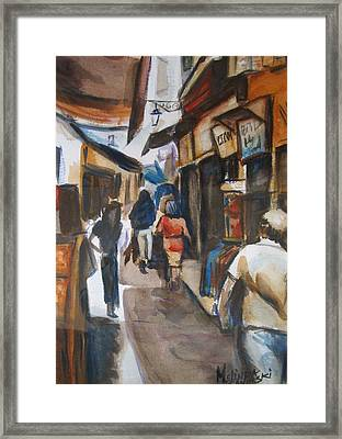 Paris Street Scene Framed Print by Melinda Saminski