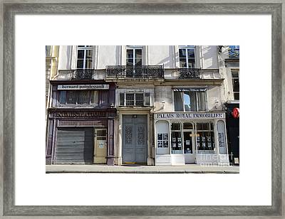 Paris Street Scenes - Paris Palais Royal Architecture Buildings - Paris Door Windows And Balconies Framed Print by Kathy Fornal