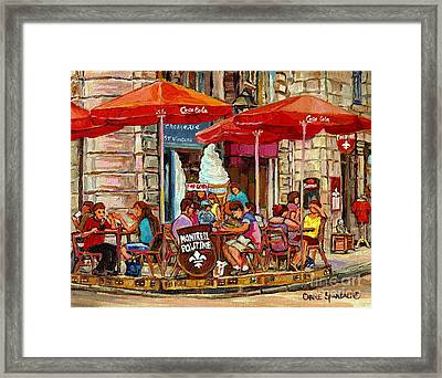 Paris Style Sidewalk Cafe Paintings Le Cremerie Bar Vieux Port Montreal Poutine Red Bistro Umbrellas Framed Print