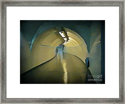 Paris Subway Connecting Tunnel Framed Print