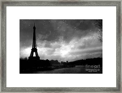 Paris Surreal Dark Eiffel Tower Black White Starlit Night Scene - Eiffel Tower Black And White Photo Framed Print