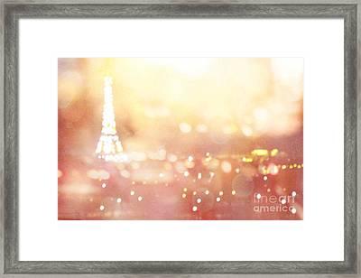 Paris Surreal Dreamy Eiffel Tower Night Lights - Paris Fantasy Eiffel Tower Abstract Bokeh Night Art Framed Print