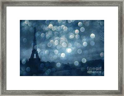 Paris Surreal Eiffel Tower Sapphire Blue Starry Night - Eiffel Tower Blue Stars Bokeh Night Sky  Framed Print by Kathy Fornal