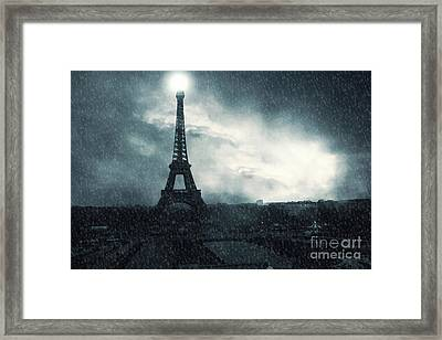 Paris Surreal Eiffel Tower Stormy Winter Snow Landscape - Eiffel Tower Winter Snow Ethereal Skies Framed Print by Kathy Fornal