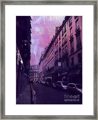 Paris Surreal Street Photography - Paris Fantasy Purple Street Scene  Framed Print by Kathy Fornal
