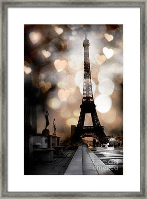 Paris Surreal Fantasy Sepia Black Eiffel Tower Bokeh Hearts And Circles - Paris Eiffel Tower Hearts  Framed Print