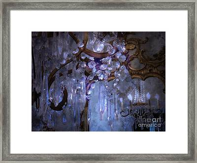 Paris Surreal Haunting Crystal Chandelier Mirrored Reflection - Dreamy Blue Crystal Chandelier  Framed Print