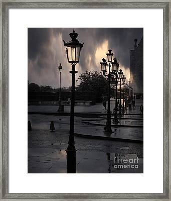 Paris Surreal Louvre Museum Street Lanterns Lamps - Paris Gothic Street Lamps Black Clouds Framed Print by Kathy Fornal