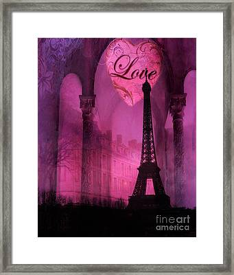 Paris Romantic Pink Fantasy Love Heart - Paris Eiffel Tower Valentine Love Heart Print Home Decor Framed Print