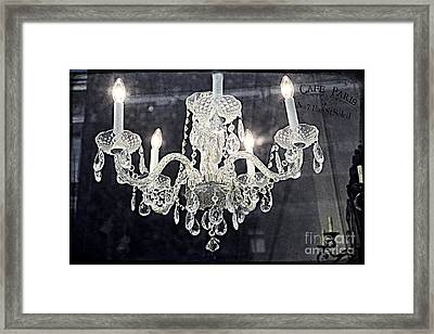 Paris Surreal Silver Crystal Chandelier - Paris Cafe Chandelier Art  Framed Print