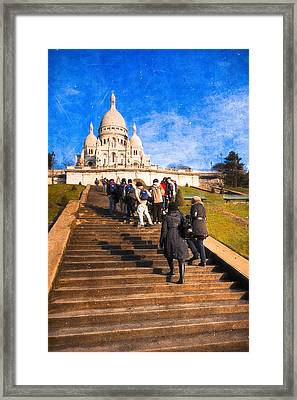 Paris - The Long Climb To Sacre Coeur Framed Print by Mark E Tisdale