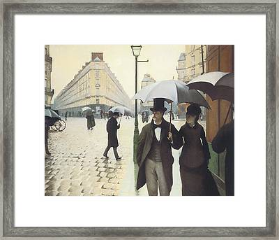 Paris The Place De L'europe On A Rainy Day Framed Print by Gustave Caillebotte