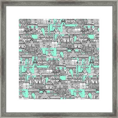 Paris Toile Aquamarine Framed Print by Sharon Turner