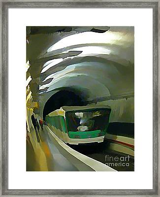 Paris Train In Fisheye Perspective Framed Print