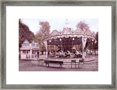 Paris Tuileries Park Carousel - Paris Pink Carousel Horses - Paris Merry-go-round Carousel Art Framed Print by Kathy Fornal