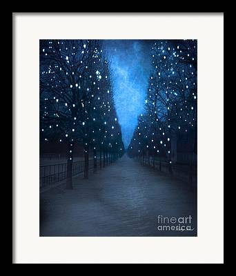 Paris Tuileries Park Scene In Blue Framed Prints