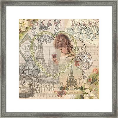 Paris Vintage Collage With Child Framed Print