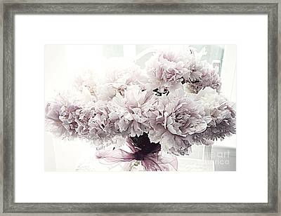 Paris Vintage Style Peonies Art - Paris Romantic French Lavender And Pink Peonies Framed Print by Kathy Fornal