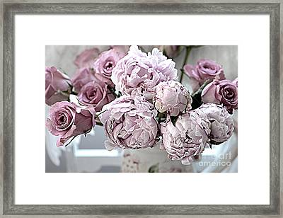 Paris Vintage Style Peonies Art - Parisian French Peonies And Roses - Lavender Peonies And Roses Framed Print