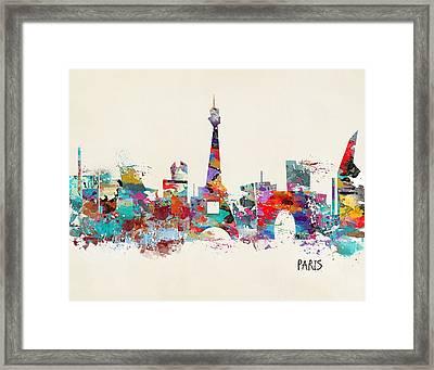 Paris Watercolor Skyline Framed Print