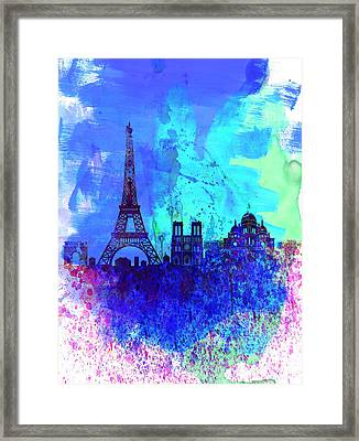 Paris Watercolor Skyline Framed Print by Naxart Studio